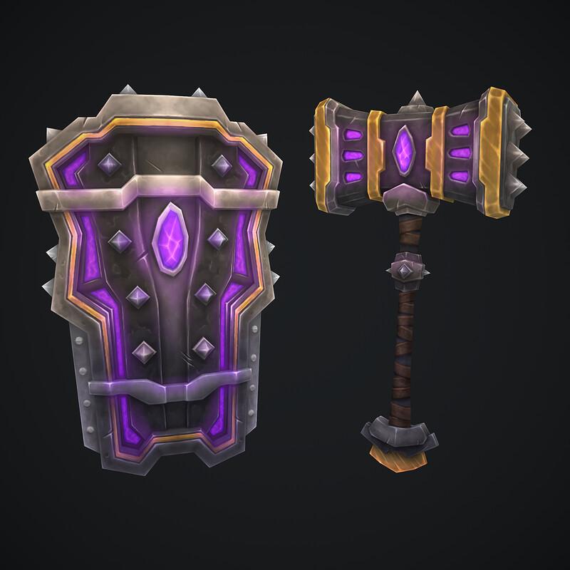Dark Shard Hammer and Shield