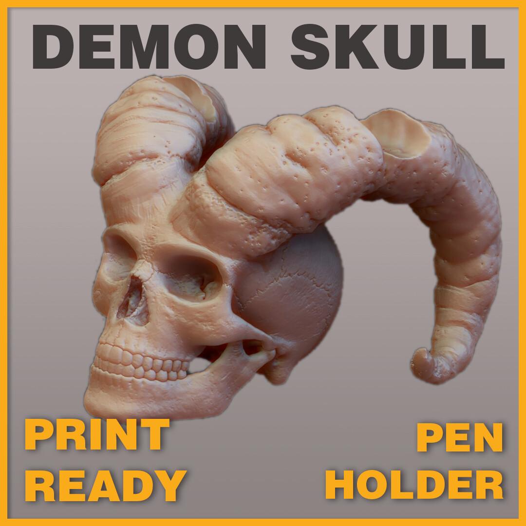 Demon Skull Pen Holder