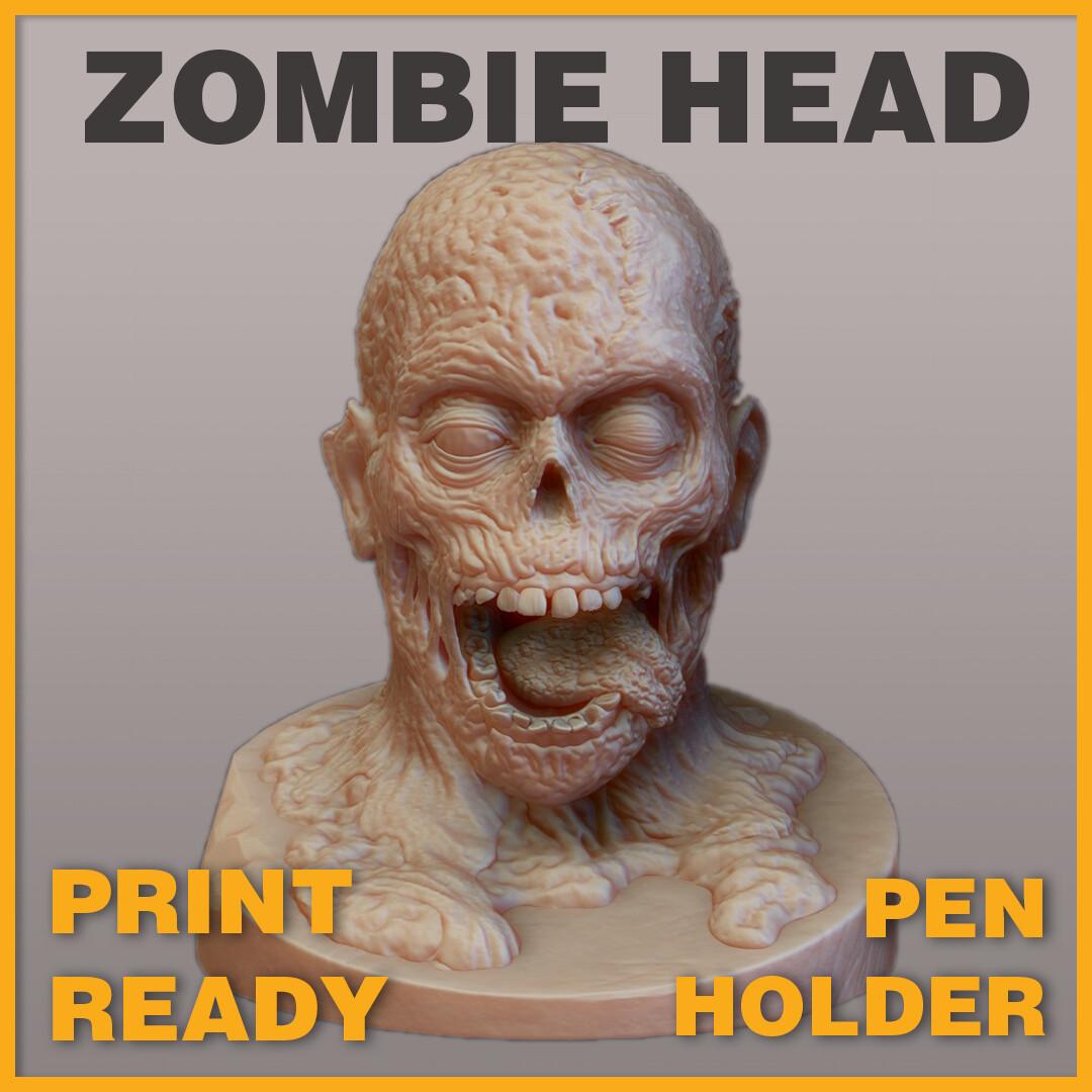 Zombie Head Pen Holder