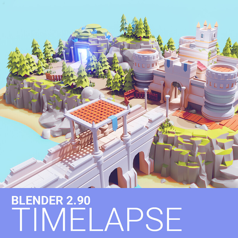 Timelapse Low Poly CASTLE on a CLIFF in Blender 2.90 | Low Poly Game Art in Blender