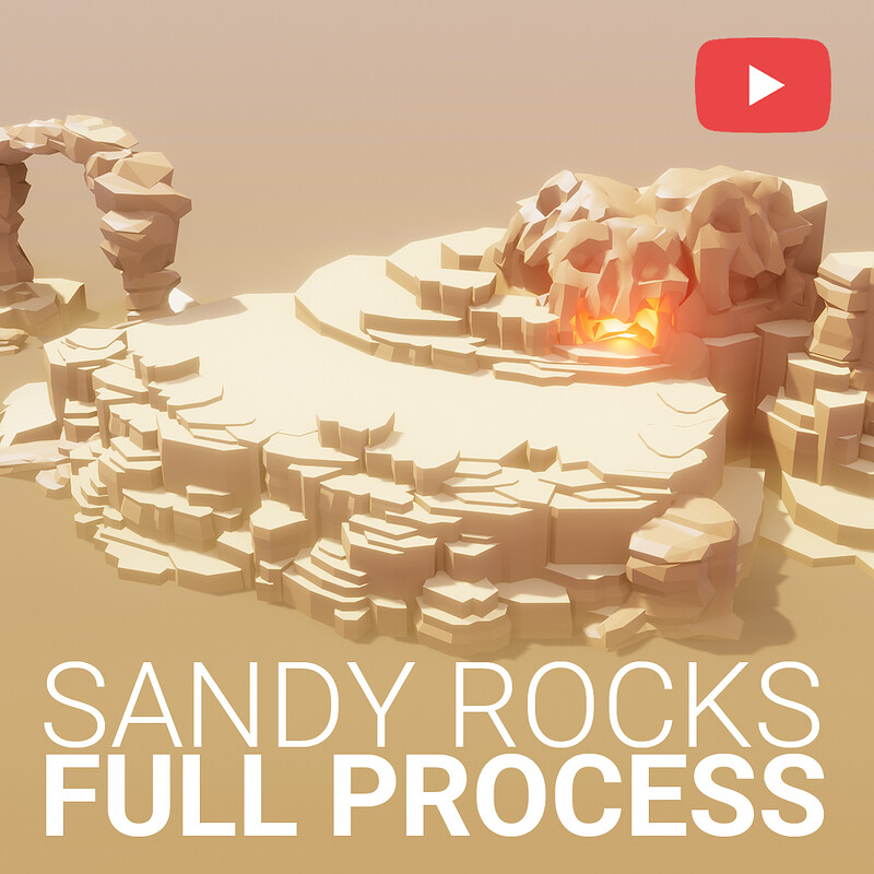 6 HD Videos (FREE)  How to model Low Poly SANDY CLIFF in Blender 2.90 | Blender 2.90 Game Asset
