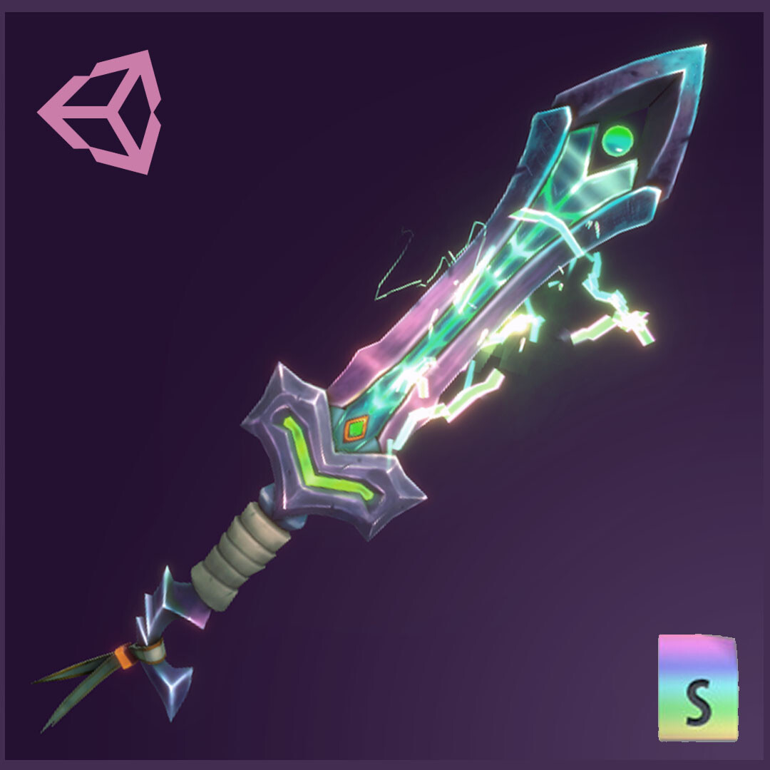 Handpainted Sword + Electric Unlit Shader + Particles
