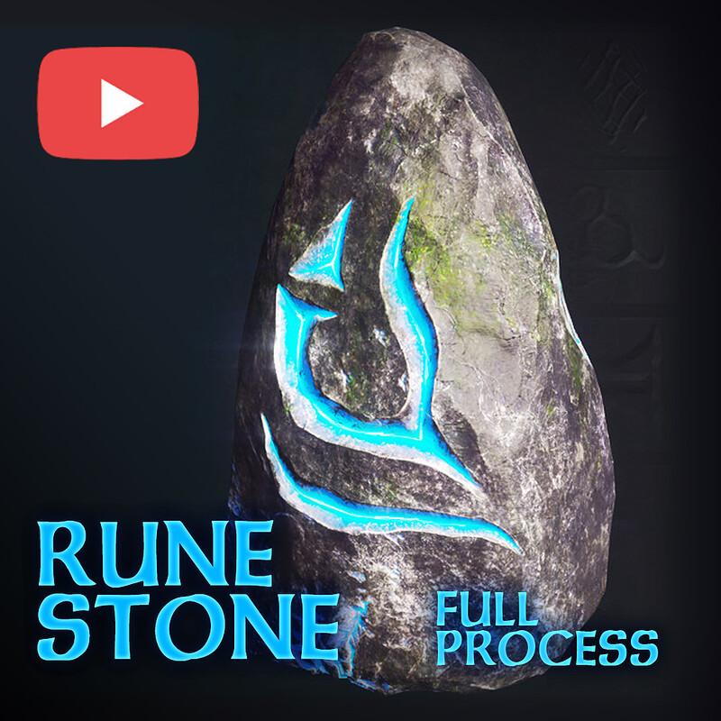 Timelapse (2x speed) Rune Stone - game ready asset | Blender, Zbrush & Substance (FULL PROCESS)