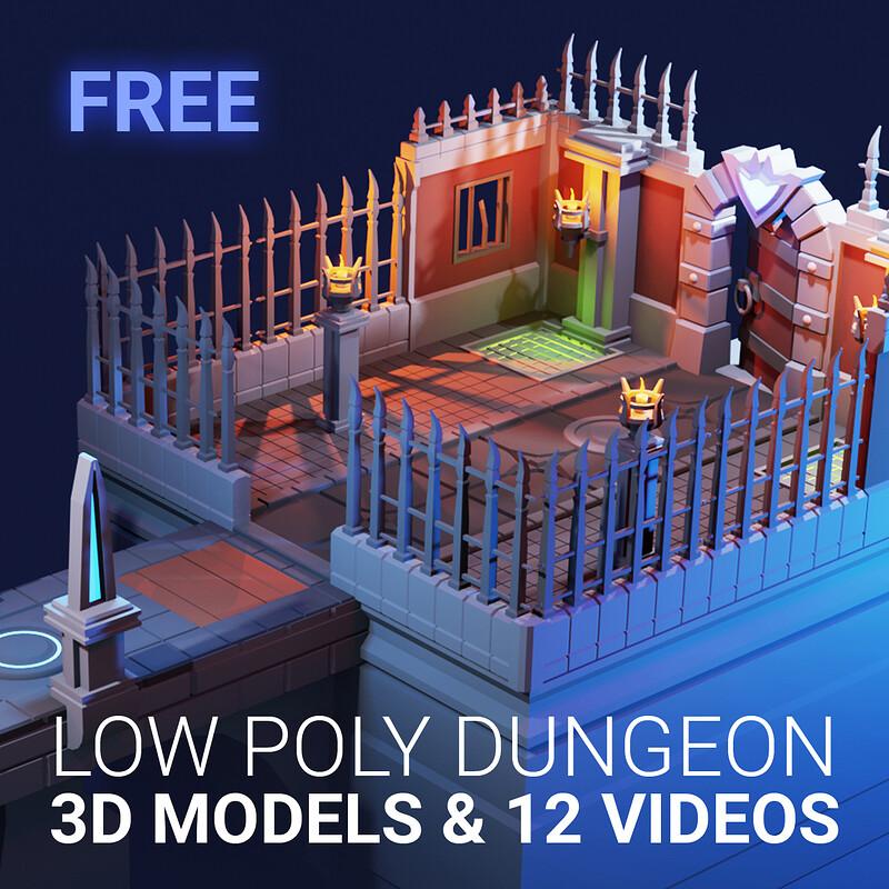 FREE DOWNLOAD - Modular Low Poly Dungeon | Blender 2.90 |  3d Modeling Modular LOW POLY DUNGEON