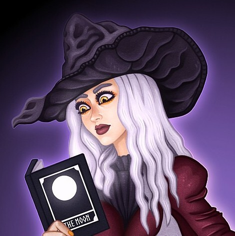 Witch Reading a Book About the Moon