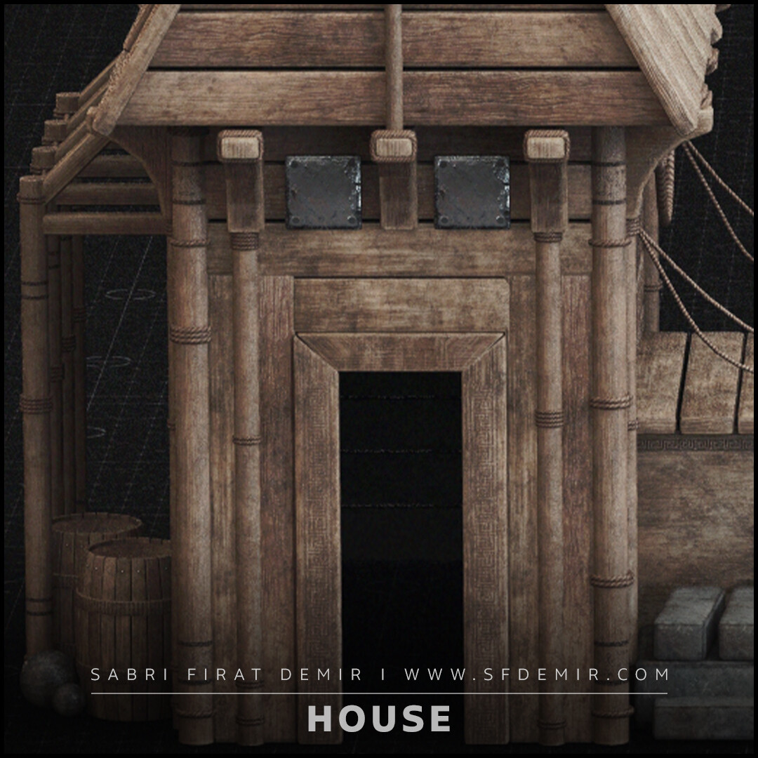 Medieval Wooden House 3D Model / PBR Texture