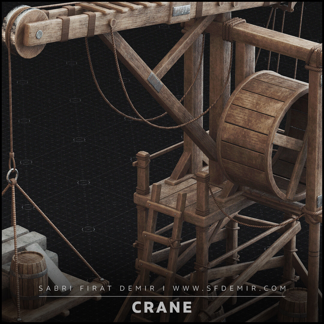 Medieval Wooden Crane 3D Model / PBR Texture
