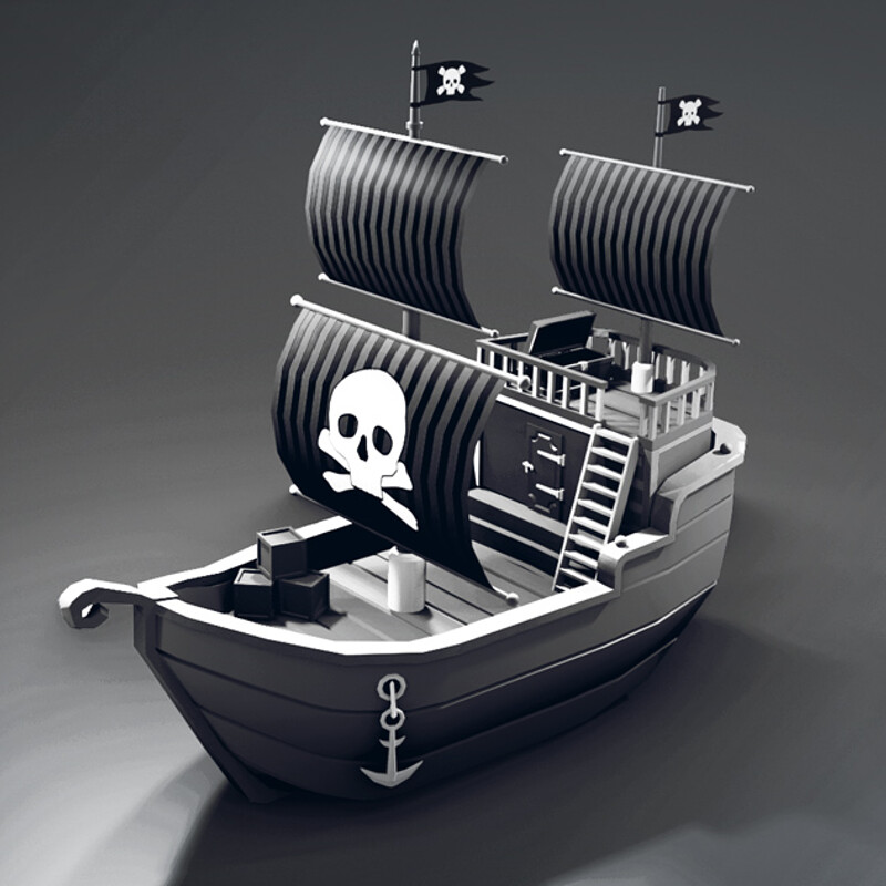 LOW POLY 3d PIRATE SHIP Blender 2.90 | 3d Game Asset