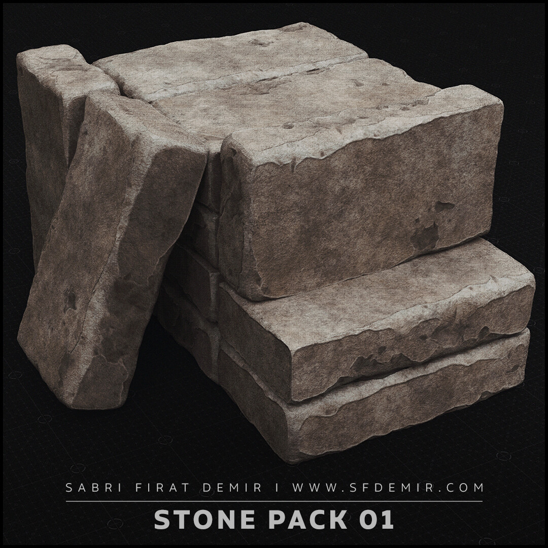 Stone Pack 01 3D Model / PBR Texture