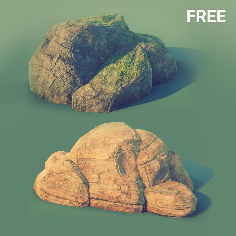 Free 3d Rock / Stone / Boulder - Forest & Desert textures (4096x4096) | 3d Game ready asset