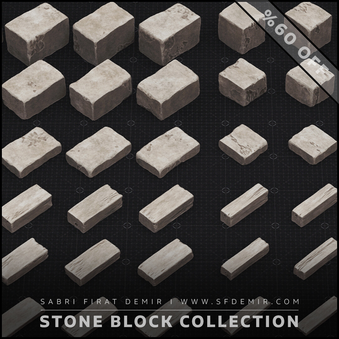 Stone Block Collection / Low Poly / 3D Model / PBR Texture