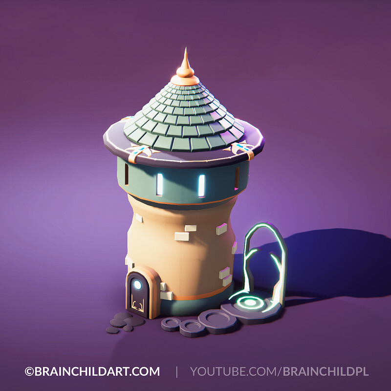 [ Speed modeling ] 3d Stylised Mage Tower in Blender & Unity