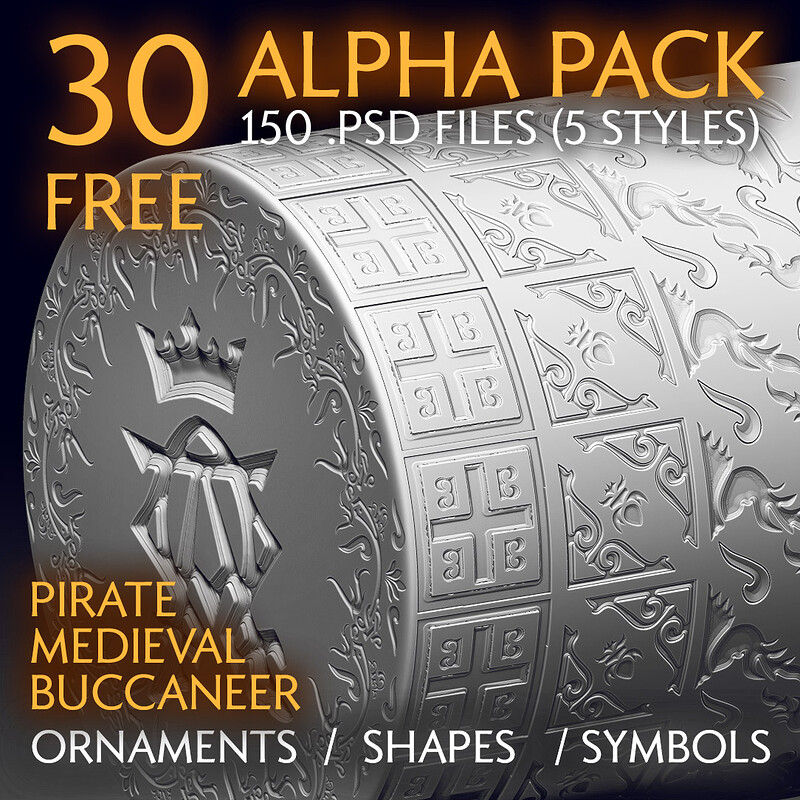 (FREE) Alpha Pack - VOL.1 Ornaments & Shapes - Pirate / Medieval / Buccaneer Theme | Alpha Textures