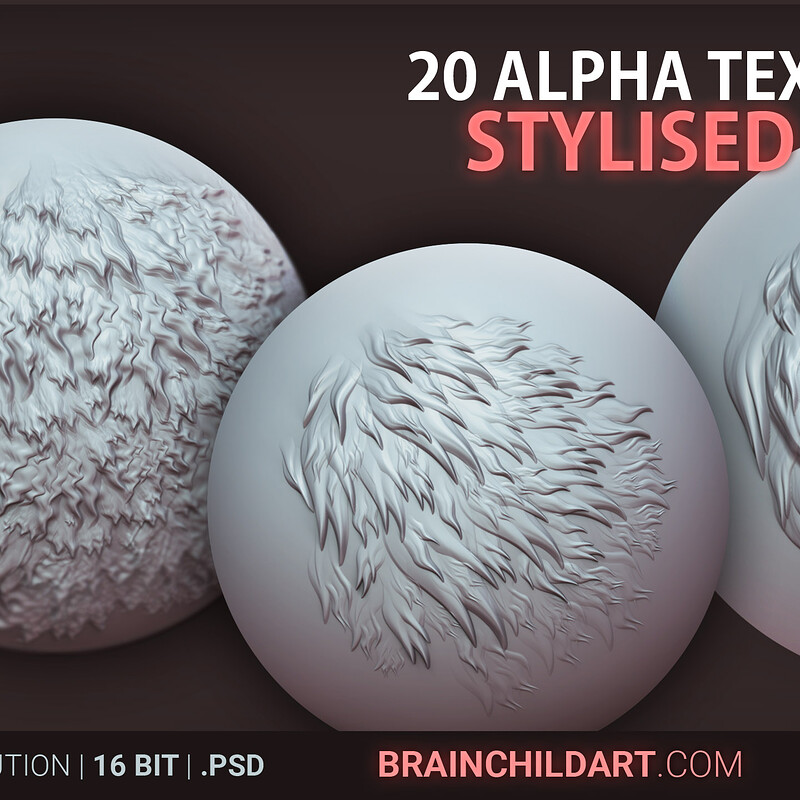 Stylised (FUR) - 20 ALPHAS | Alpha pack for Zbrush, Blender & Substance