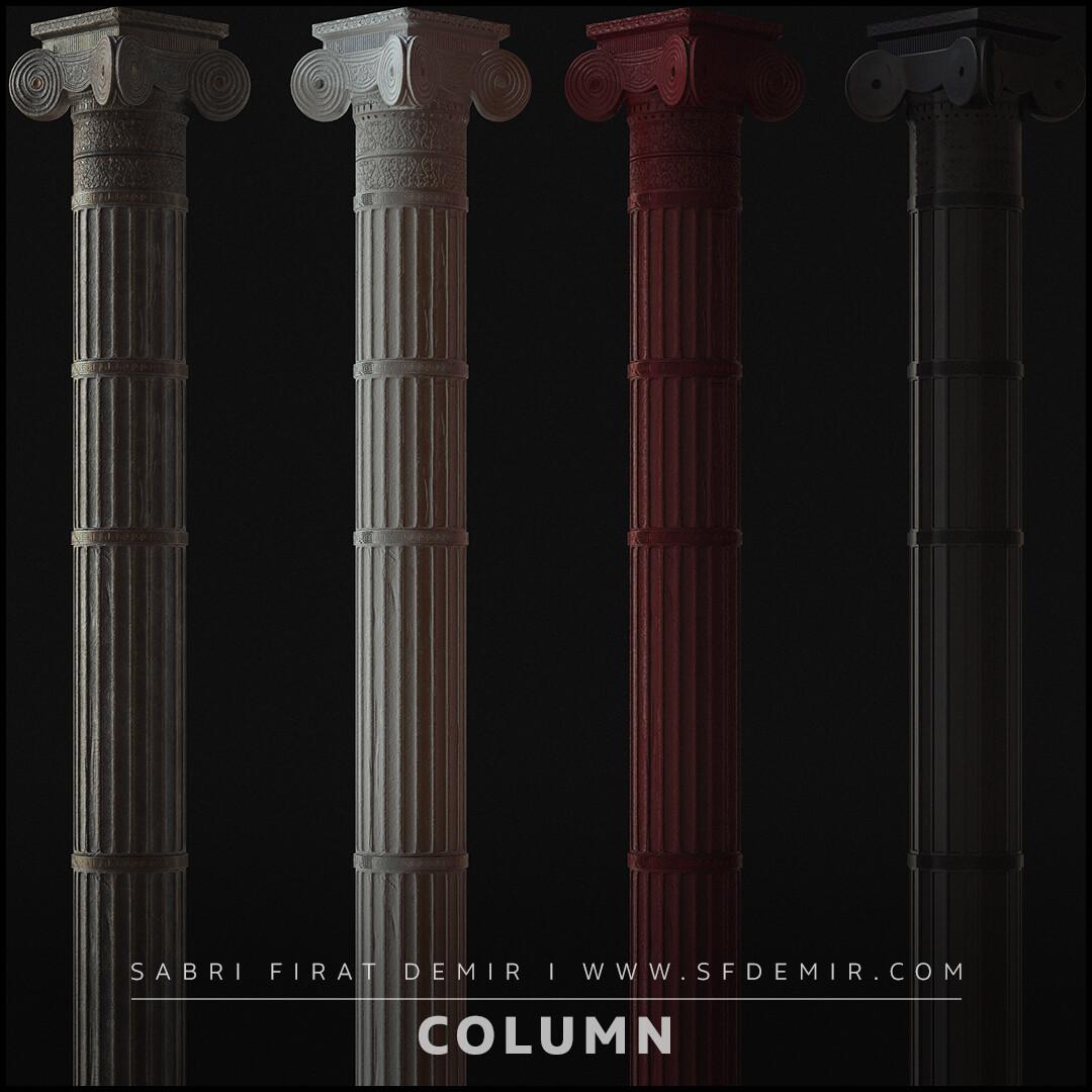 Roman Column Low Polygon PBR