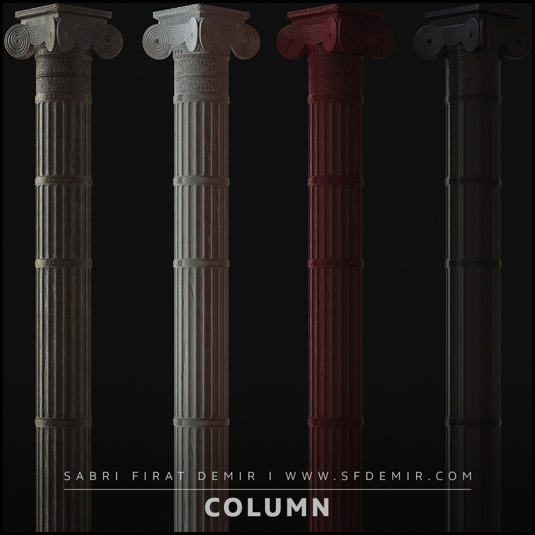 Roman Column Low Polygon PBR