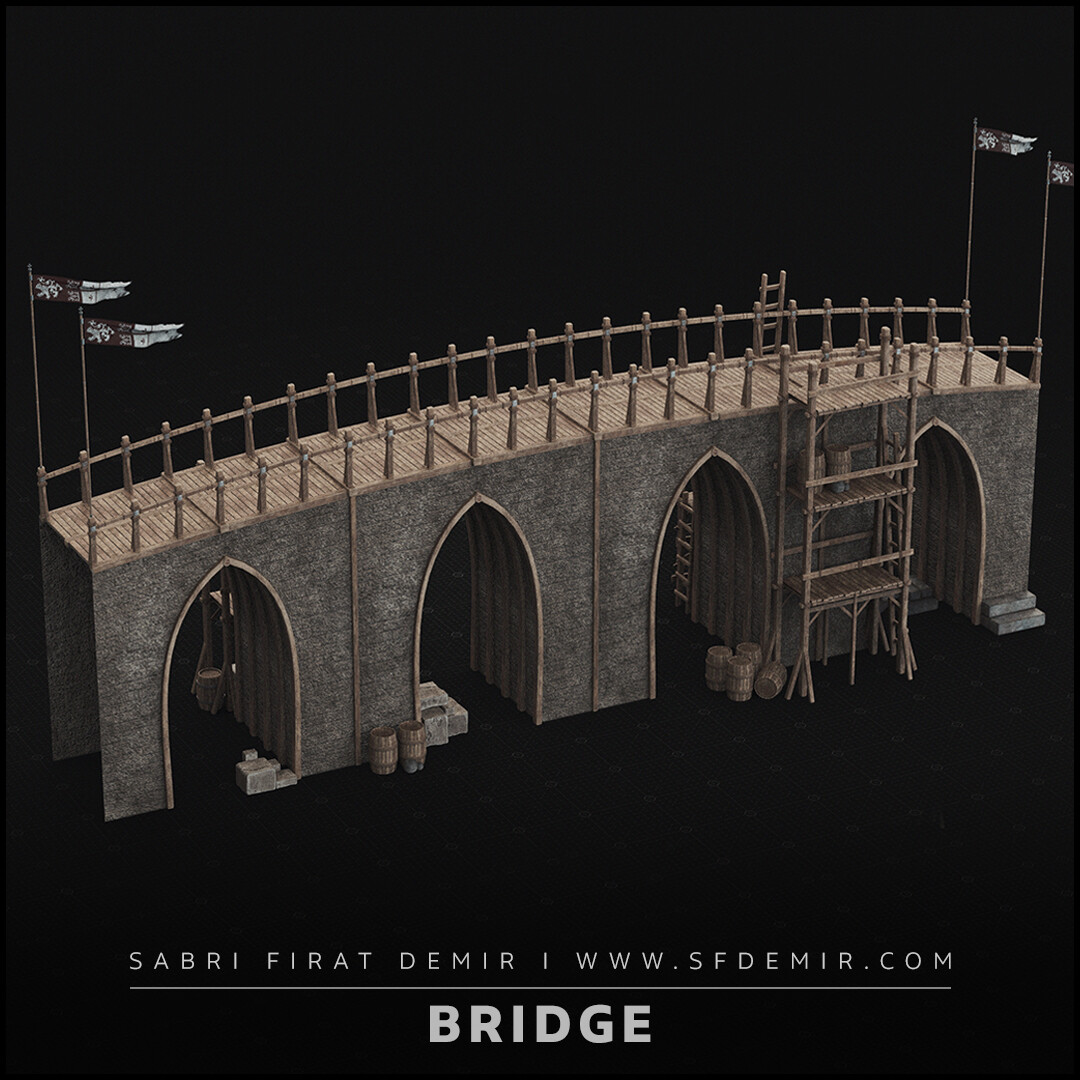 Medieval Bridge 3D Model - Low Polygon - PBR Texture