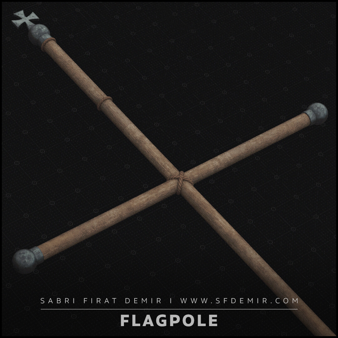 Flagpole 3D Model - Medieval Asset - Low Polygon - PBR Texture