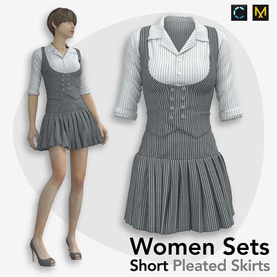Roya almasi roya almasi summer women sets two piece set with short pleated skirts artboard 14