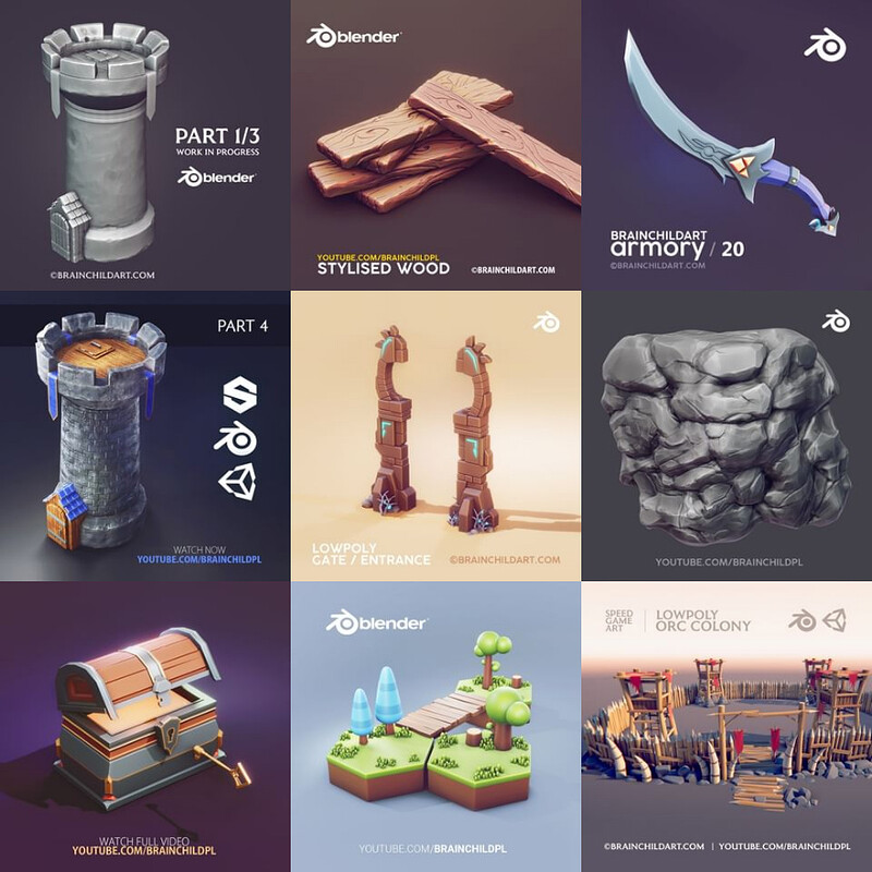 (13 Process Videos) Lowpoly Game Art | Sculpting Stylised Art | Clean 3d Art | Blender to Substance
