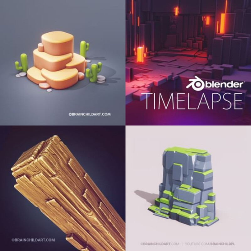 (8 Process Videos) 3d Low poly Game Art in Blender 3d | Flat Shaded Illustration 3d | Clean 3D Art