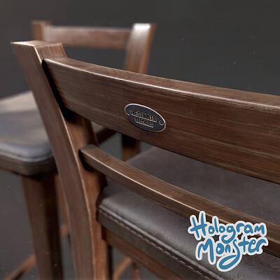 Hologram monster studio hologram monster studio wooden stool thumb