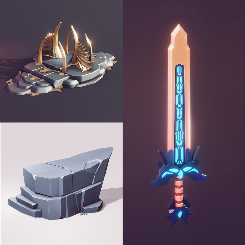 5 Videos (FULL PROCESS) Lowpoly Art | Flat Shading | Low Poly 3d Style - Blender Speed Modeling