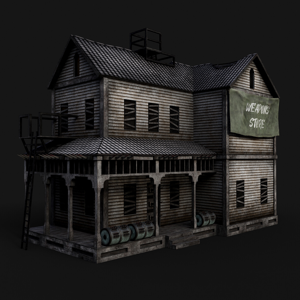 Postapocalyptic House - Trim sheet environment project
