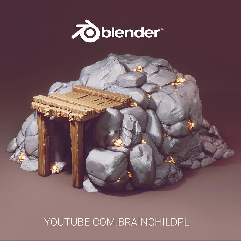 Sculpting Process of Gold Mine in BLENDER (3d Modeling) 3d Game Design | Stylised 3d Rocks