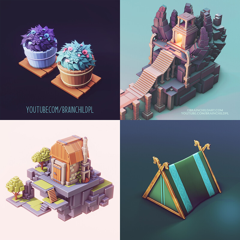 (12 Process Videos) 3d Modeling, Sculpting, Texturing and Rendering workflow | lowpoly game art |