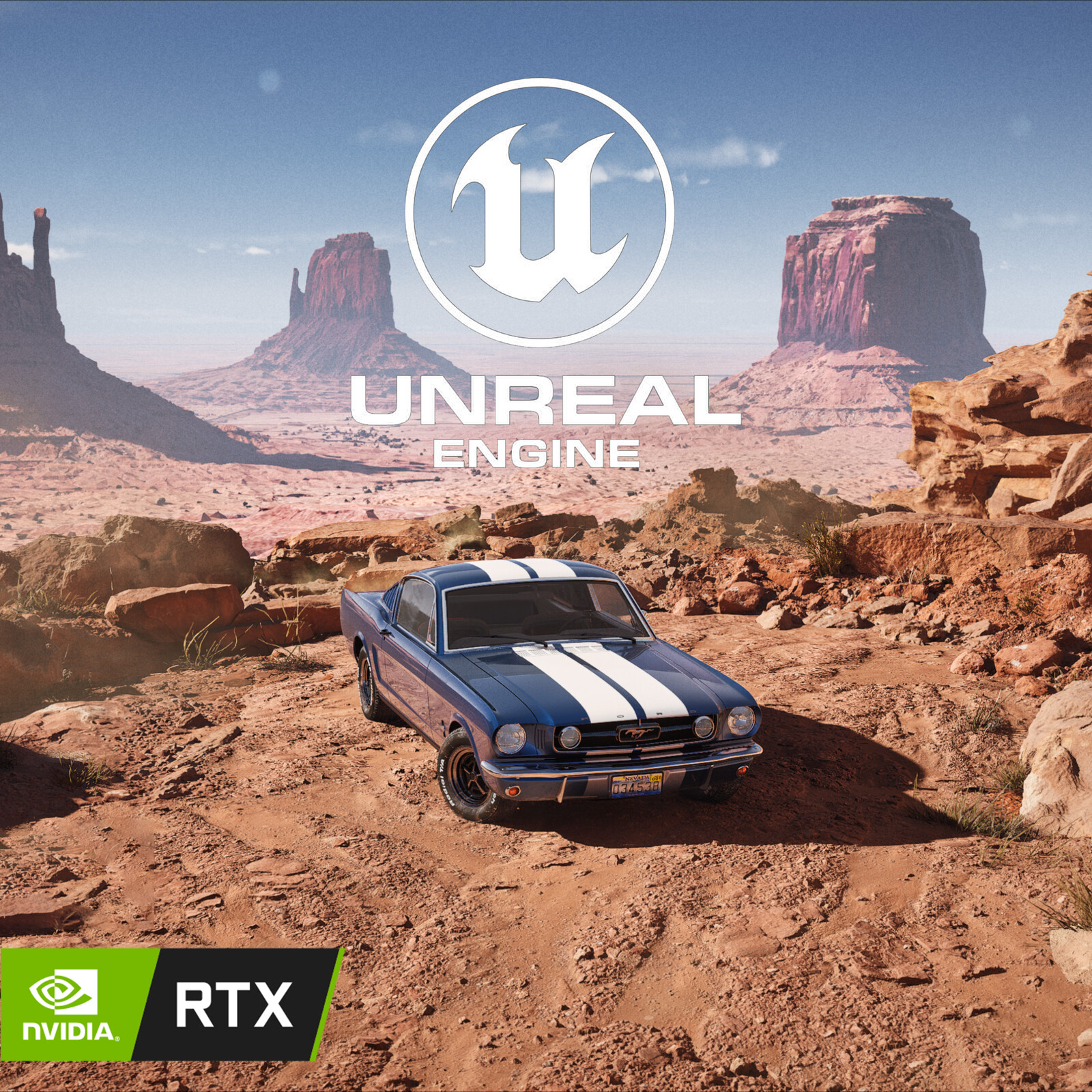 UE5 RTX - 65' Mustang at Monument Valley
