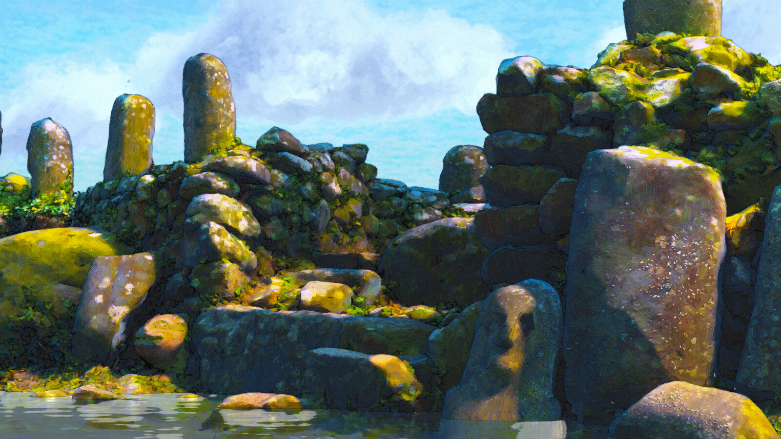 Stone Ruins I - (Stylized 3D Environment Rendering - 2021)