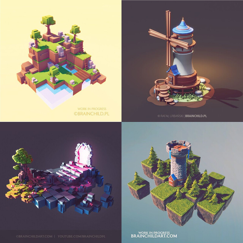 Blender, Substance & Unity (9 Process Videos) Low Poly Art | 3D Modeling & Texturing Game Models