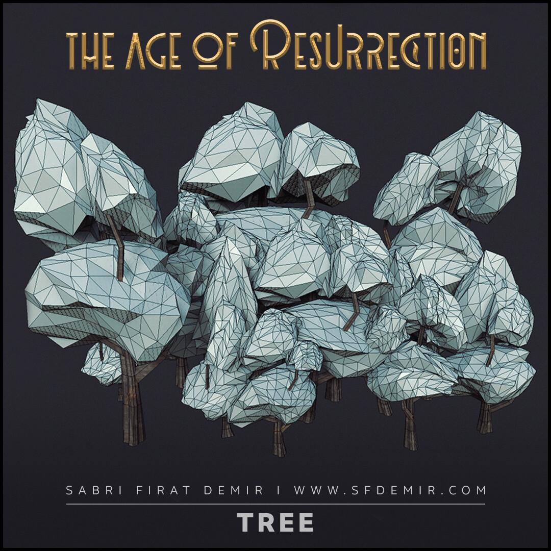 Low Polygon Cartoon Tree Pack