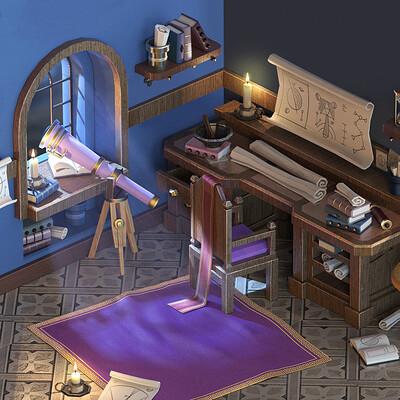 Edgaras cernikas edgaras cernikas astronomers room interior night render square