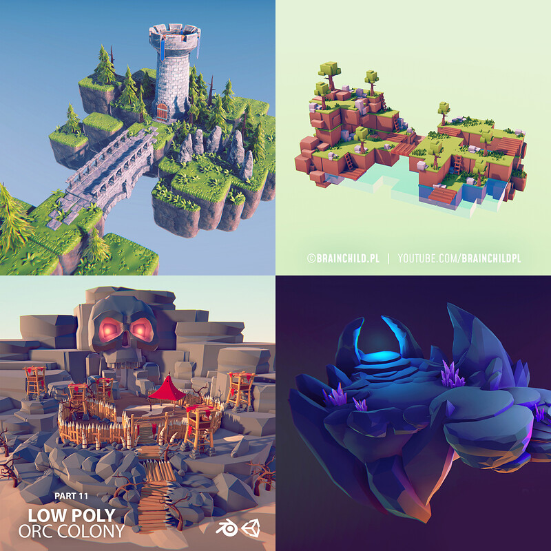 (14 Videos) Quick 3D Modeling & Texturing in Blender, Substance & Unity | 3D Game Art | Tutorials
