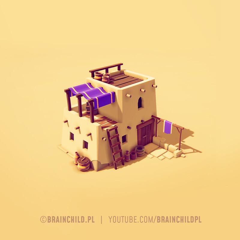 low poly desert house in Blender & Unity