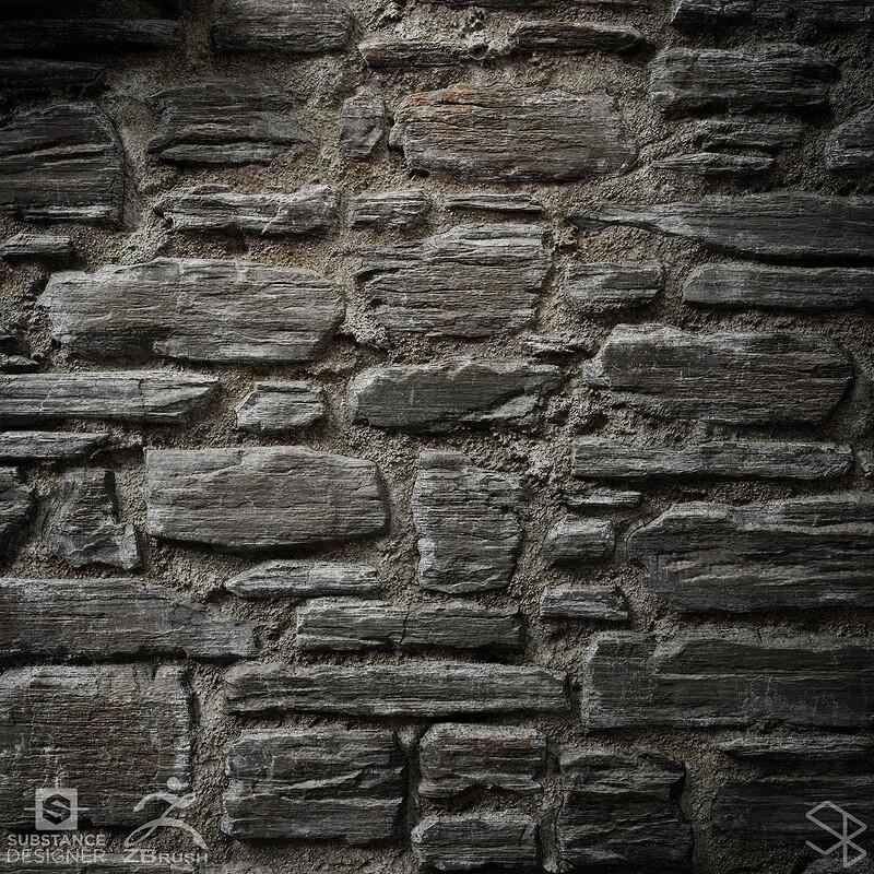 Queenstown Schist Stone Wall - Zbrush + Substance Designer