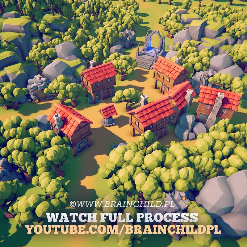 Youtube.com/brainchildpl   Blender & Unity - RTS / City-builder 3D Models in 3 Hours