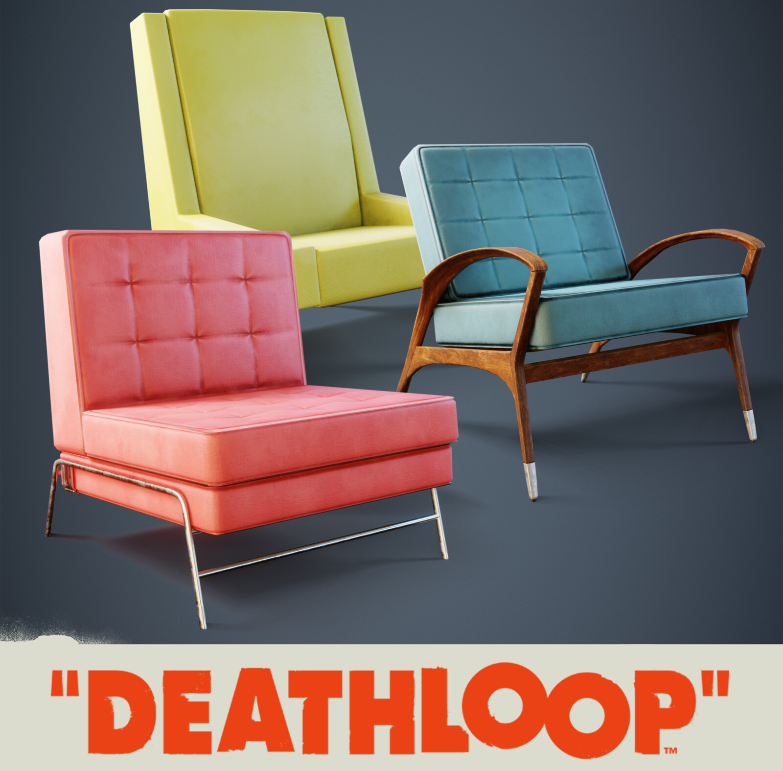 Armchairs Selection: Deathloop Props