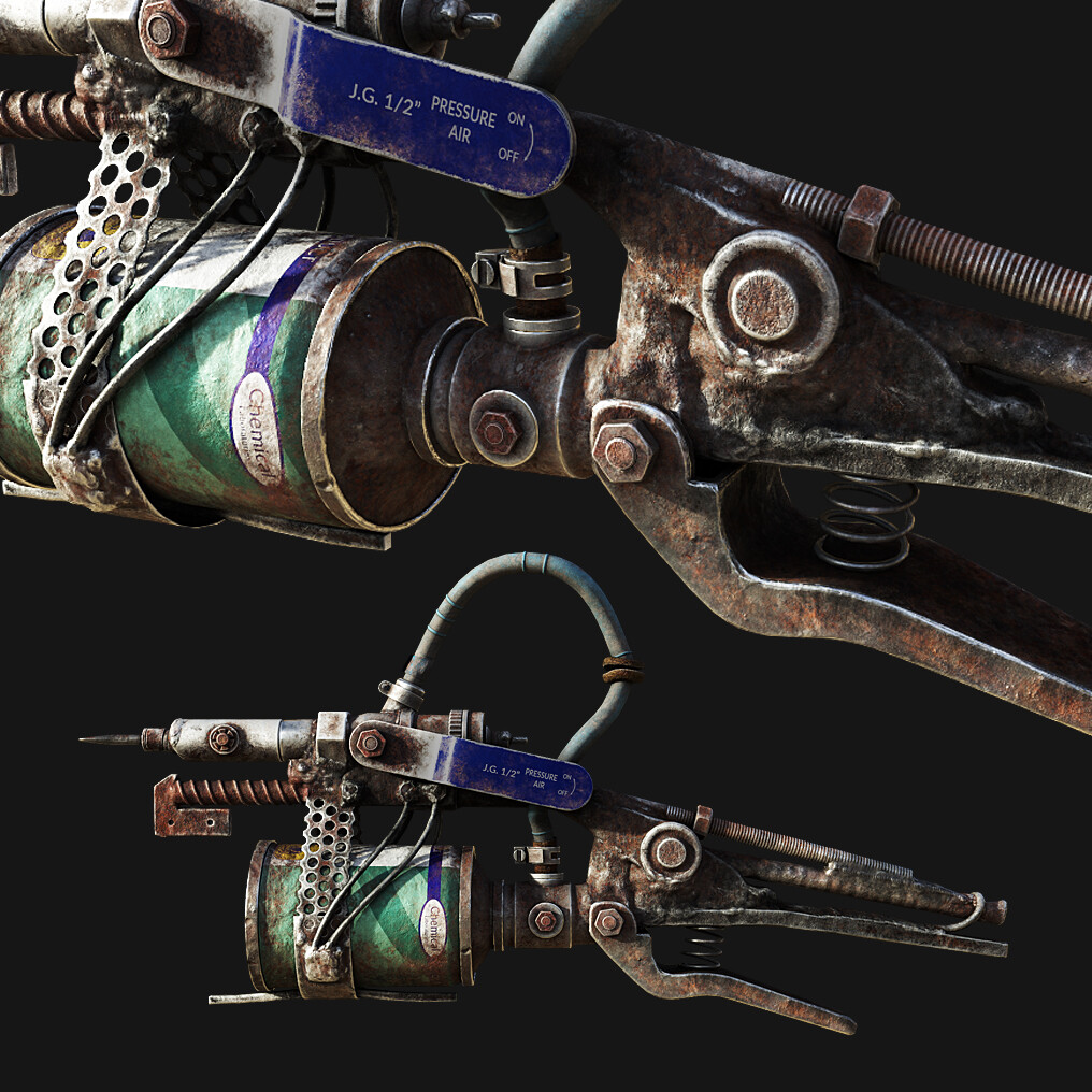 Post-apocalyptic Flame Gun game asset