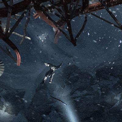 The Wolverine . Concept Art . Silver Samurai Falls