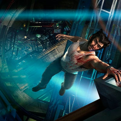 The Wolverine . Concept Art . Logan Falling