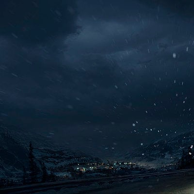 The Wolverine . Concept Art . Approaching Town