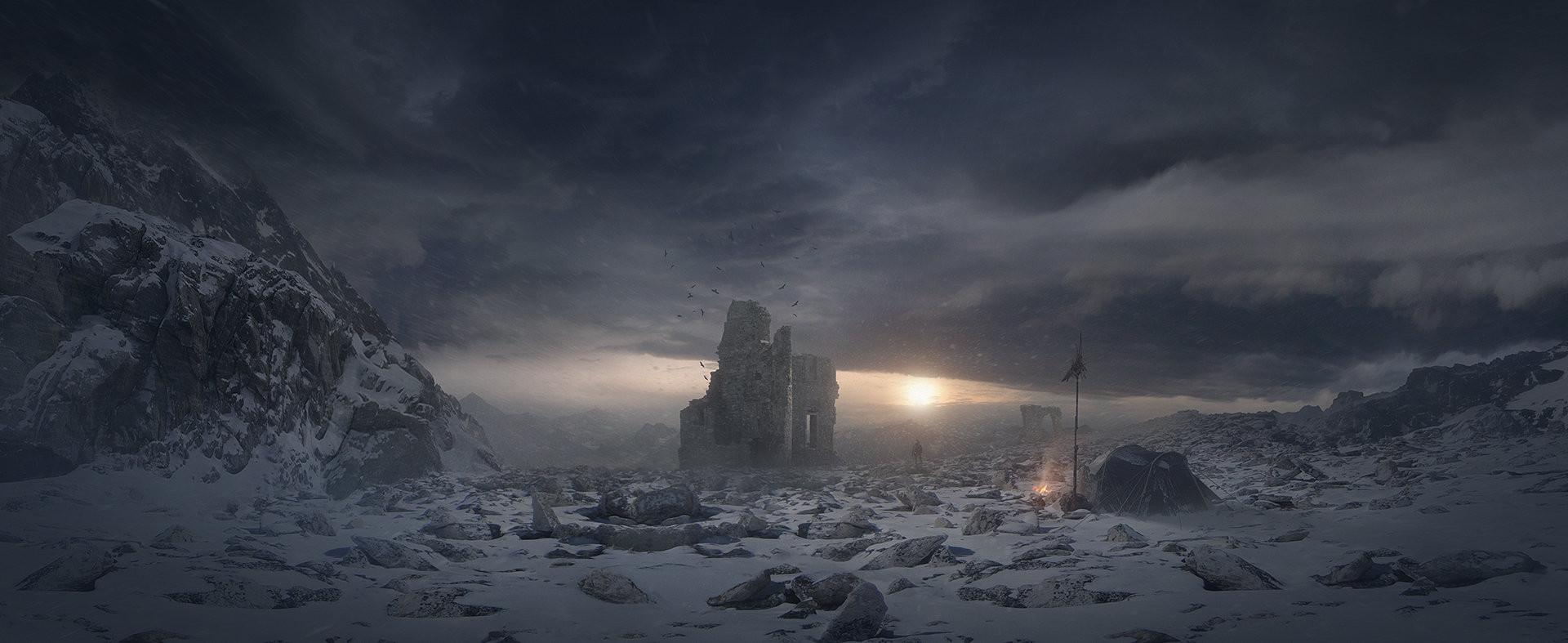 A long trip matte painting hd