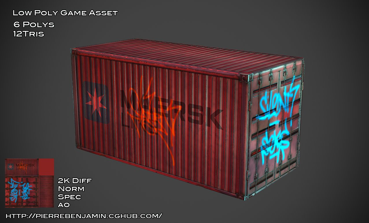 Container low poly game asset
