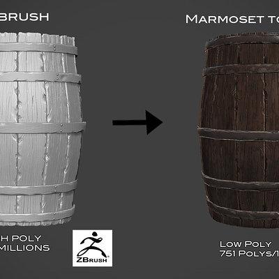 wooden barrel game asset