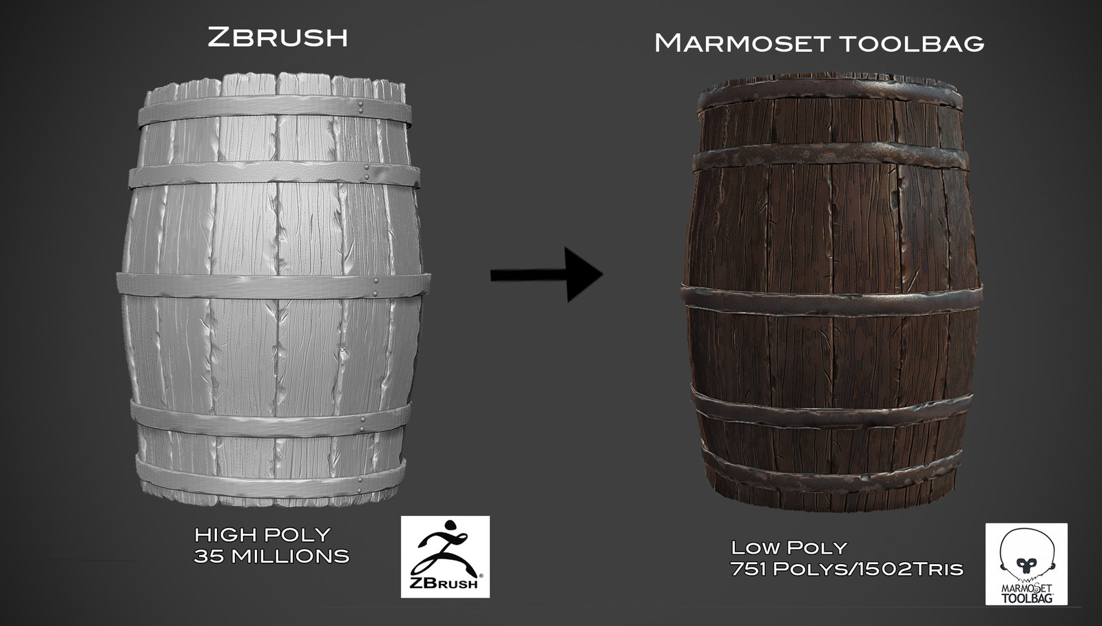 wooden barrel game asset