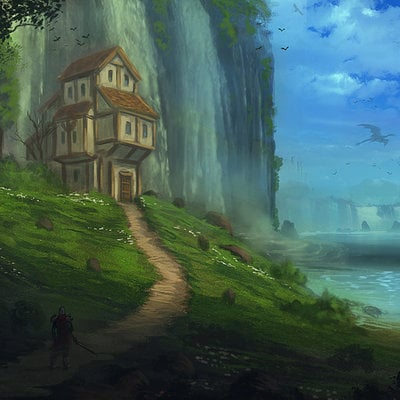 Cabin on hill in front of waterfall web