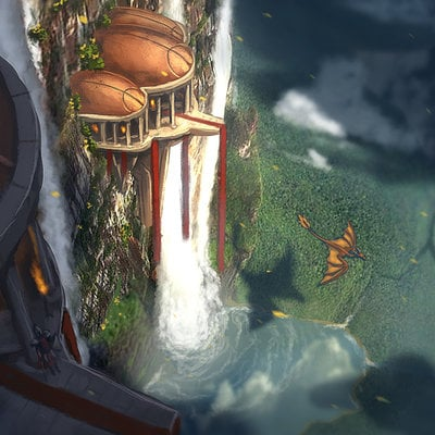 Overlooking the  falls ravenseye travis lacey concept art web
